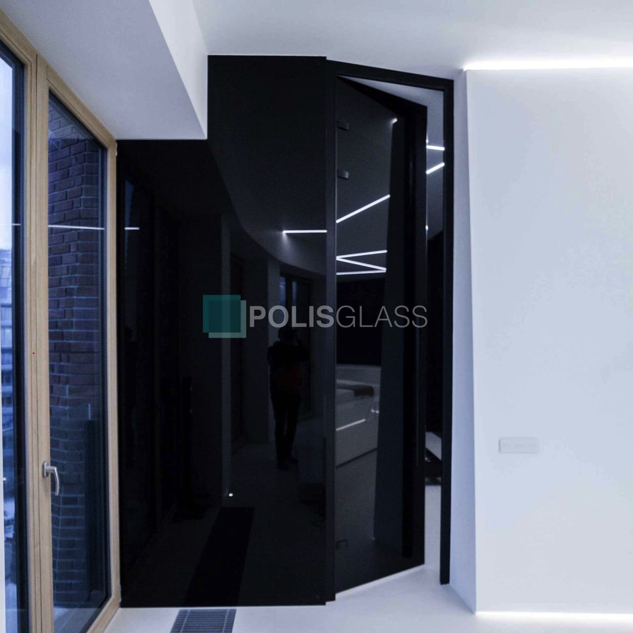 Чёрная стеклянная дверь