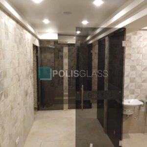 Тонированые стеклянные двери для салона Eva Spa