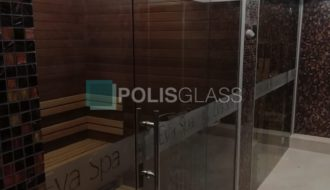 стеклянная перегородка с дверкой для сауны